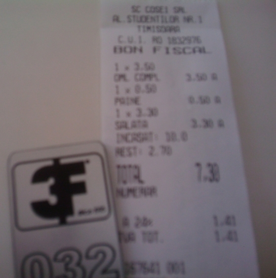 Bon fiscal pentru un mic dejun la 3F în Timişoara