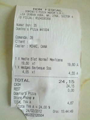 Nota de plata Dominos Pizza