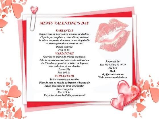 meniu valentines day sky restaurant