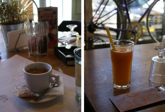 Cafea si fresh de portocale
