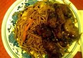 spaghete cu orez si pui caramelizat in lotus center din oradea